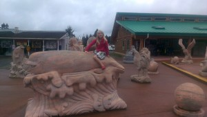This is at a market in Parksville where they had lots of statues!