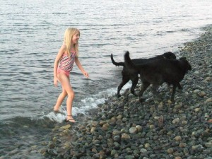 This is me with Lucky and Anna at Qualicum Beach. We got to go in the Pacific Ocean, but not all of the dogs like to swim.